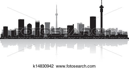 Clipart of Johannesburg city skyline vector silhouette k14830942.