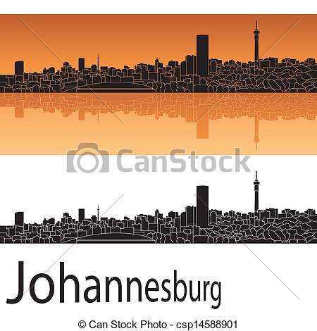 Vector Clipart of Johannesburg skyline in orange background in.