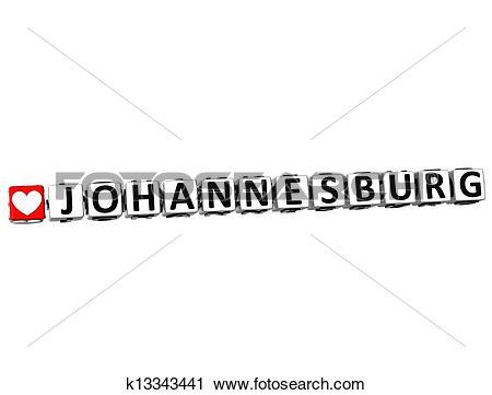Clipart of 3D Love Johannesburg Button Click Here Block Text.