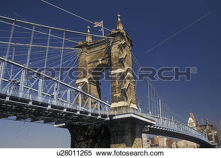 Stock Image of bridge, Cincinnati, OH, Ohio, John A. Roebling.