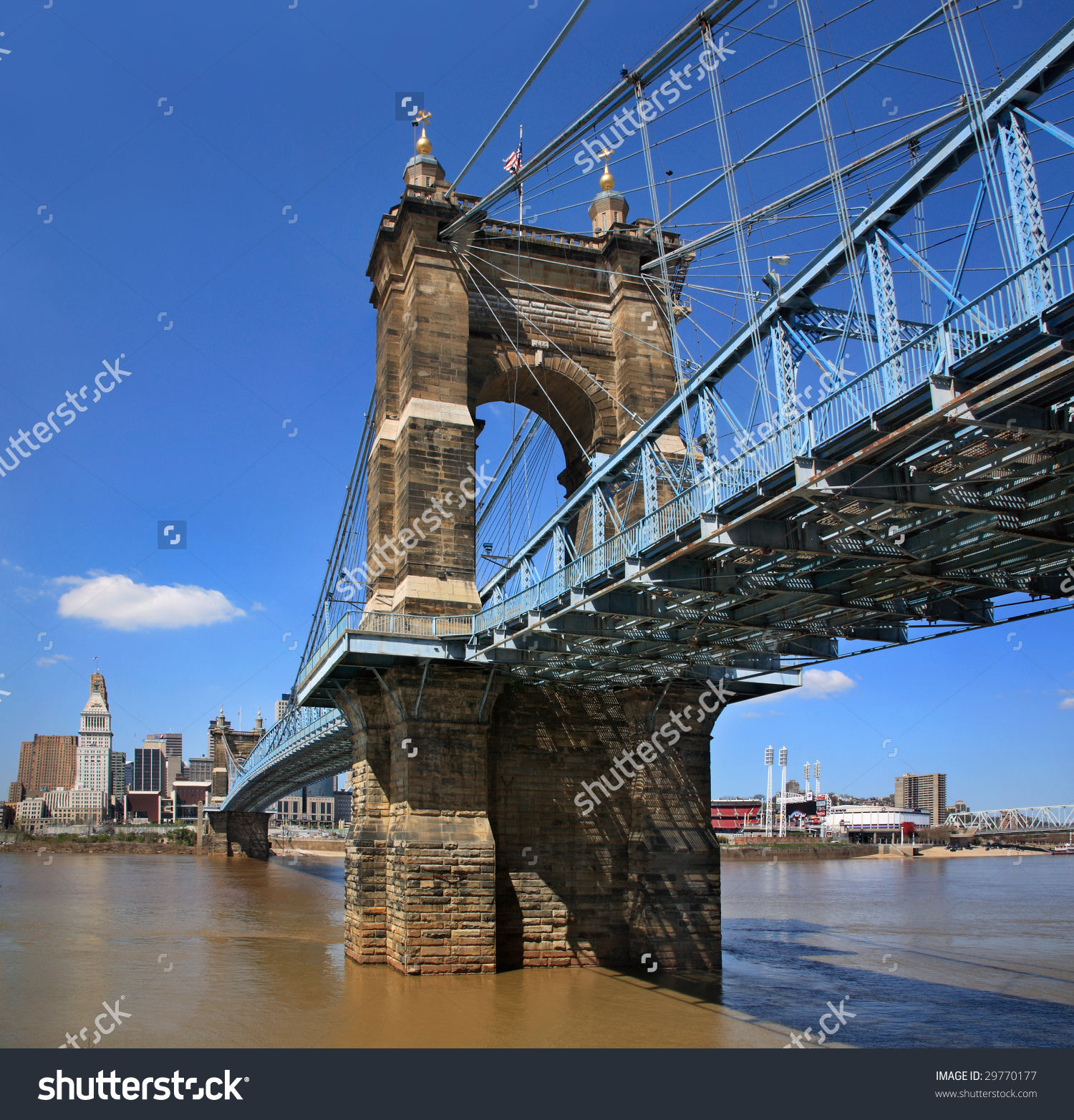 The John A. Roebling Suspension Bridge Over The Ohio River At.