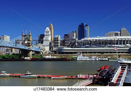 Stock Photo of skyline, Cincinnati, stadium, bridge, OH, Ohio.