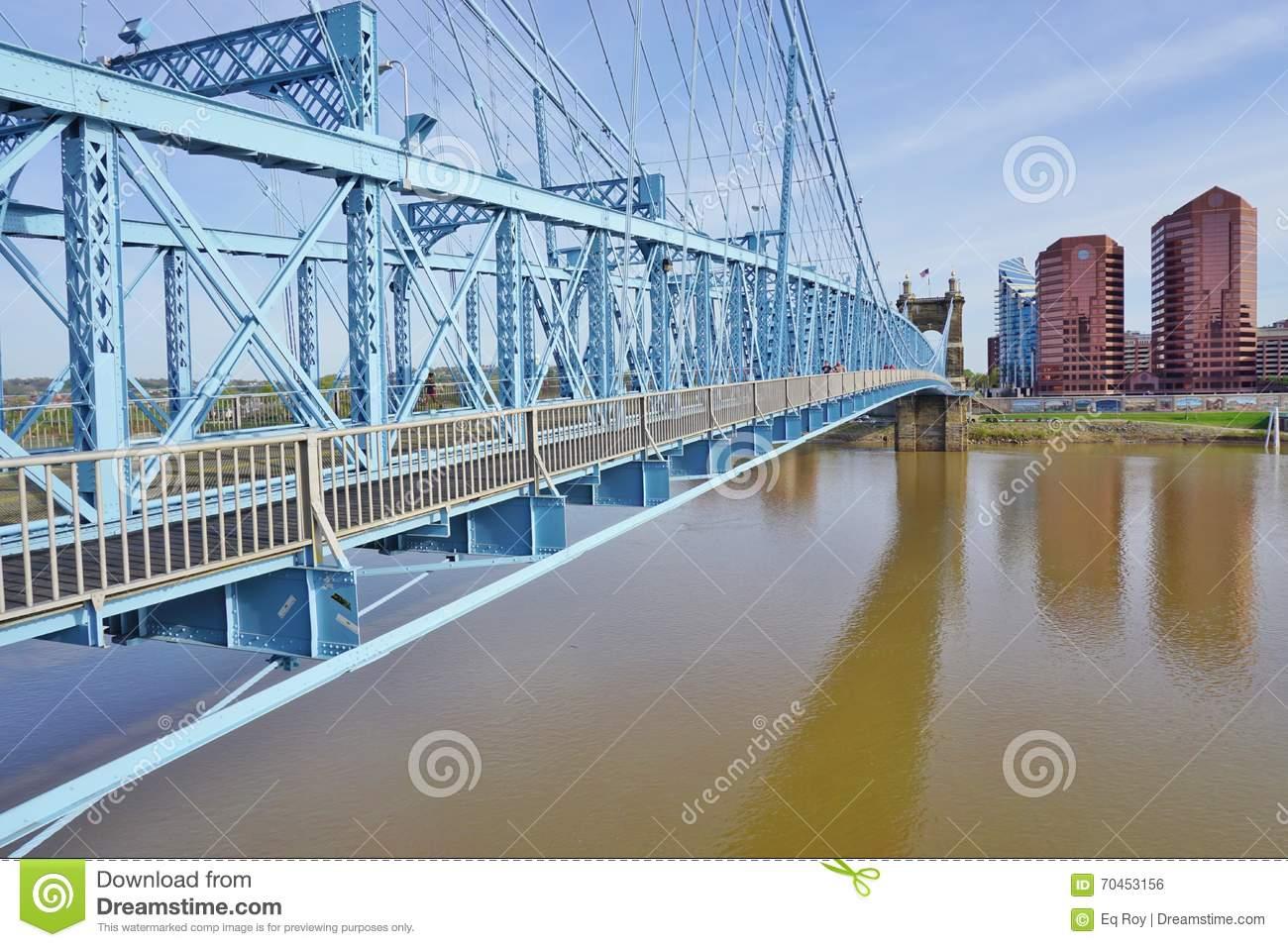 The John A. Roebling Suspension Bridge In Cincinnati, Ohio.