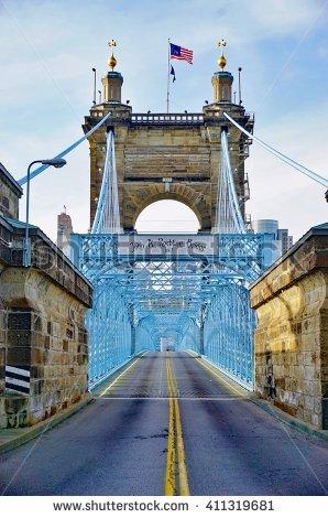 Roebling Suspension Bridge Stock Photos, Royalty.