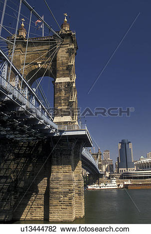 Stock Photo of bridge, Cincinnati, OH, Ohio, Ohio River, John A.