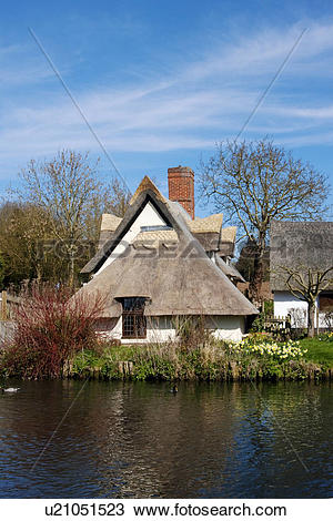 Stock Photo of England, Suffolk, Flatford, Bridge Cottage by the.