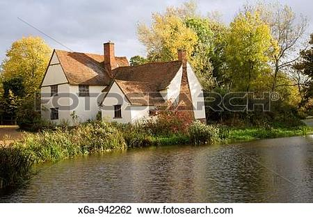 Stock Photo of Willy Lot's House Cottage, Flatford Mill, Suffolk.