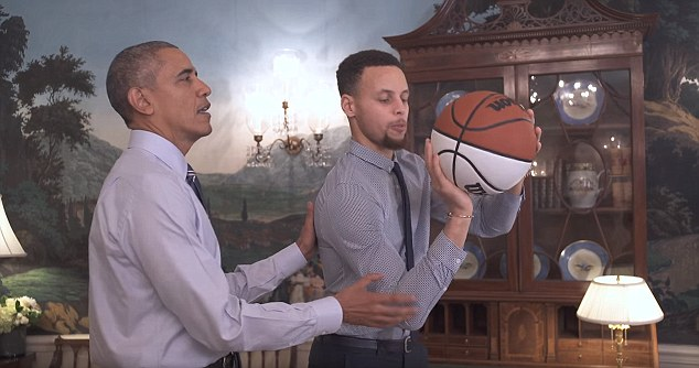 Barack Obama helps Golden State Warriors' Stephen Curry with jump.