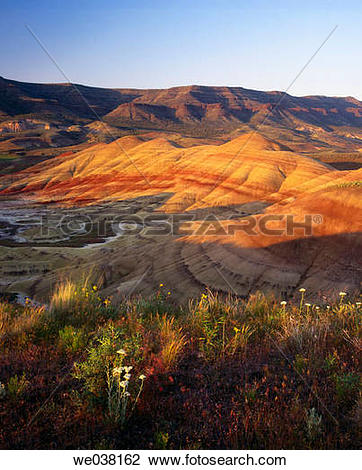 Stock Photo of Sunset on the Painted Hills.