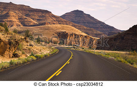 Stock Photography of Curves Frequent Two Lane Highway John Day.