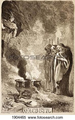 Stock Image of Illustration By Sir John Gilbert For Macbeth Of The.