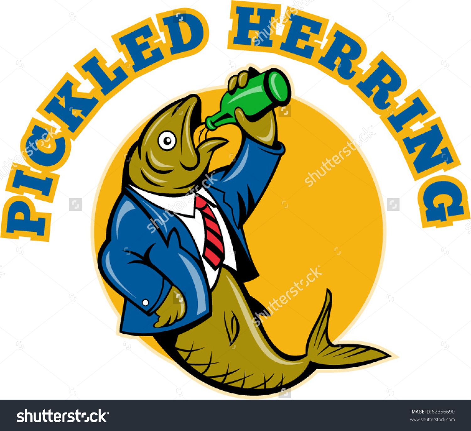 Illustration Cartoon Herring Fish Business Suit Stock Vector.