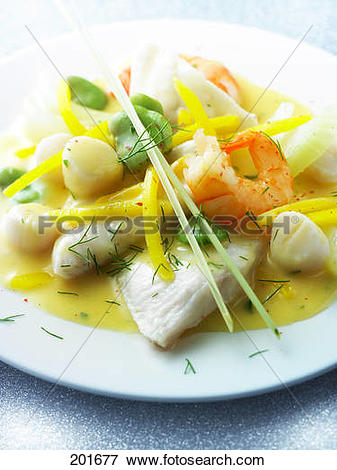 Picture of John Dory with shrimps,scallops,broad beans in citrus.