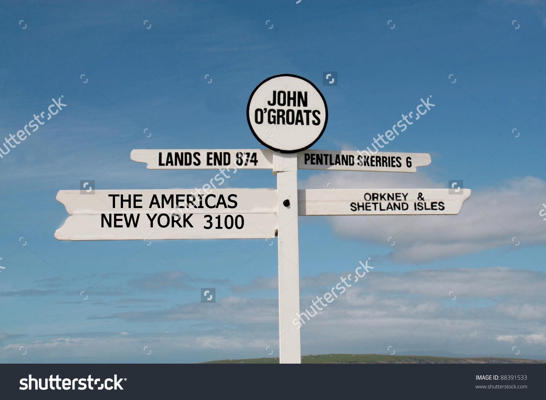 Unusual Road Sign Post In John O Groats Scotland Stock Photo.