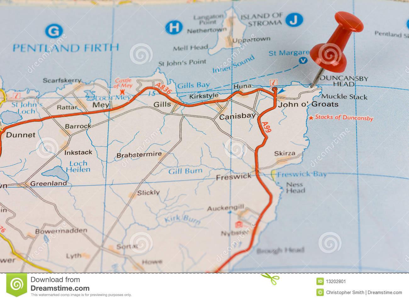John O' Groats Road Map Stock Image.