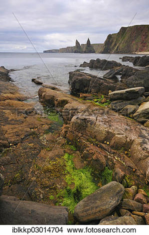 """Stock Photo of """"Rock formation off the coastal cliffs, Duncansby."""