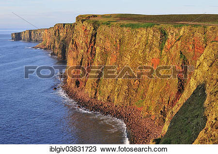 """Stock Photo of """"Steep coast near Duncansby Head in the morning."""