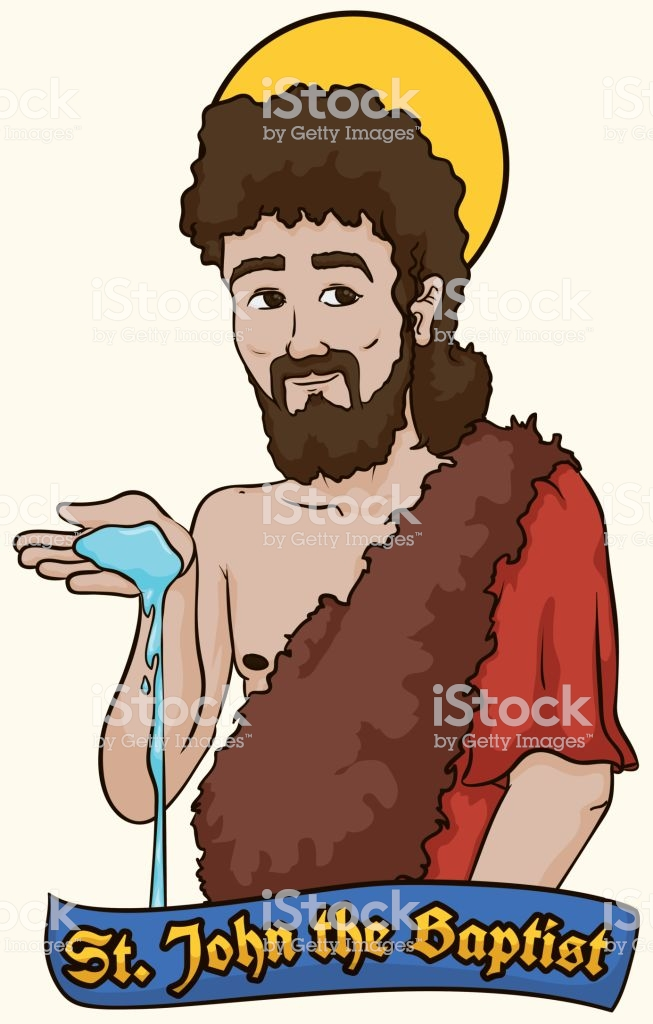 Saint John The Baptist Holding Water Over A Label Stock Illustration.