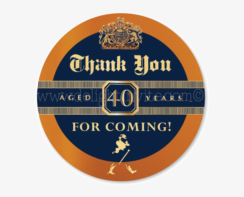 Johnnie Walker Blue Label 40th Birthday Favor Tag Invites.