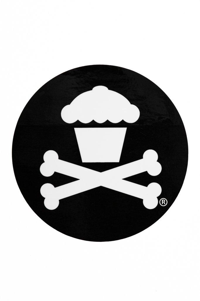 Round Crossbones Sticker (Black).