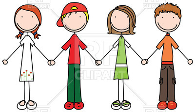 Happy children join hands in simple style Vector Image.