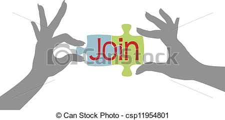 Vector Clipart of Member hands Join together puzzle.