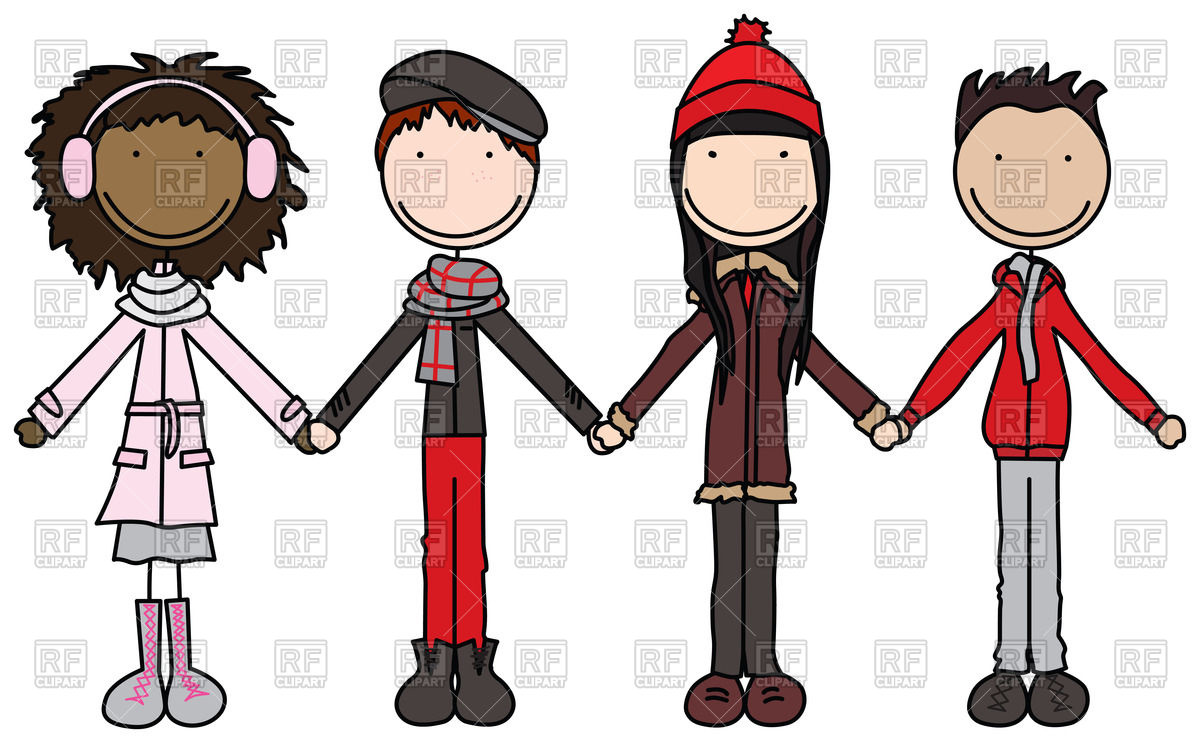 Kids in winter clothes join hands Vector Image #60308.