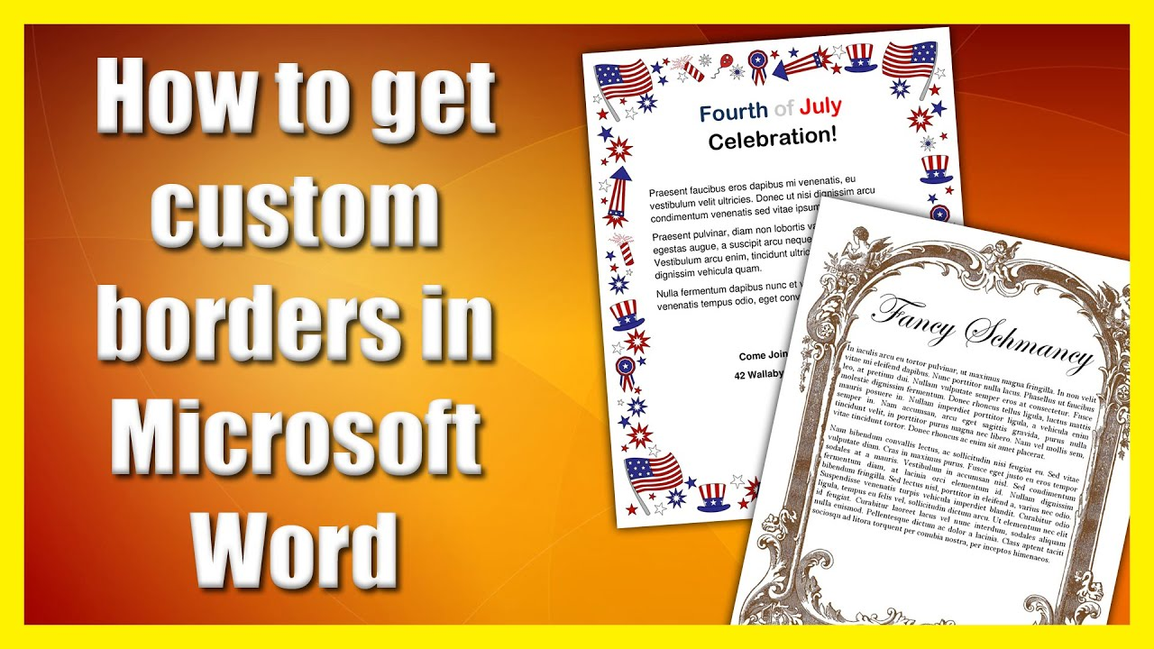 How to get a custom border in Microsoft Word.