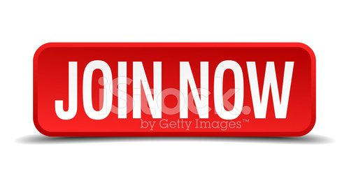Join now red 3d square button isolated on white Clipart.