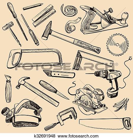 Clip Art of Joinery icons set. Carpenter character at work.