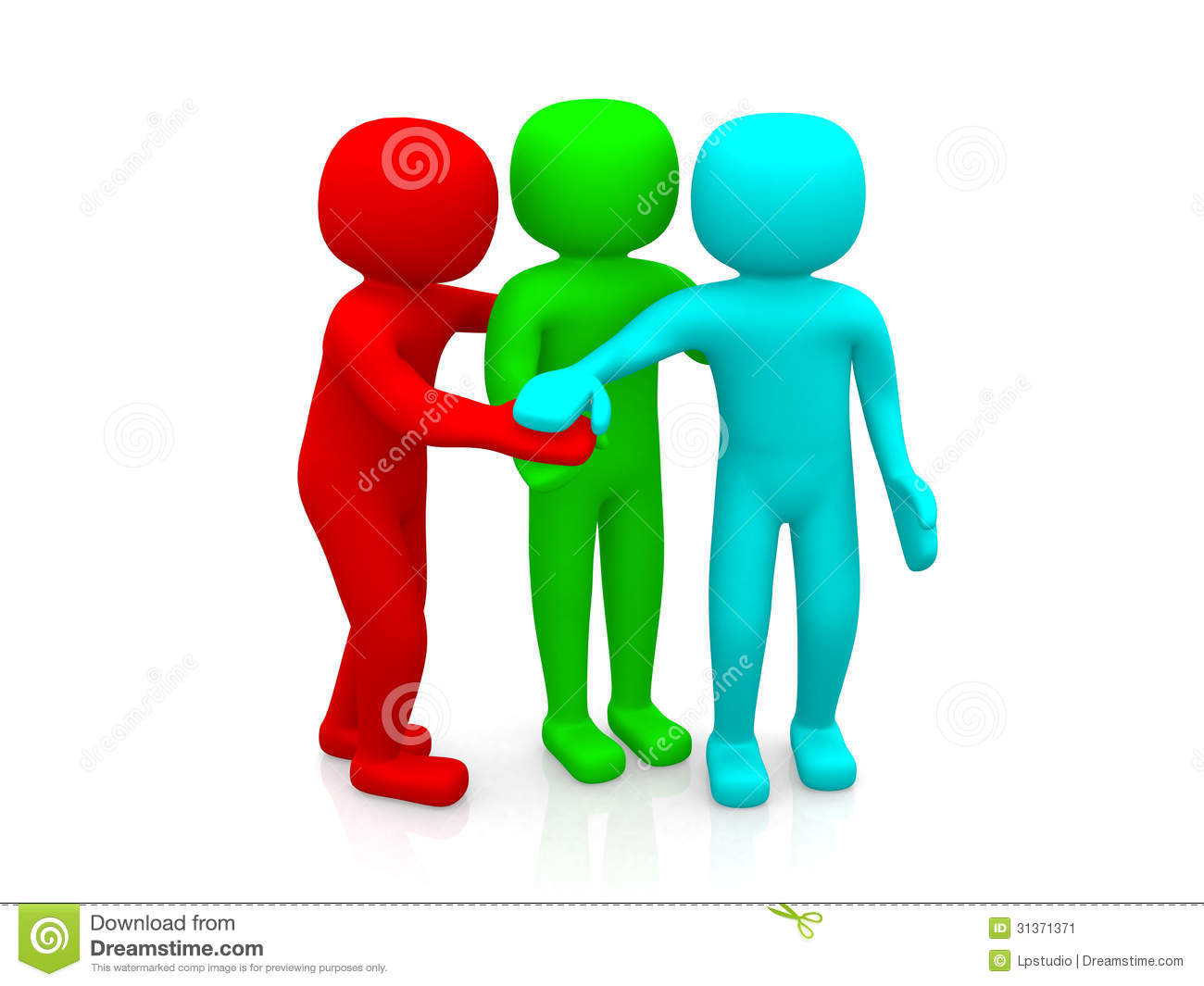 3d Men Together. Business Team Joining Hands Concept Stock Image.