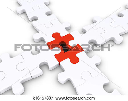 Stock Illustration of Special puzzle piece joins others k16157807.