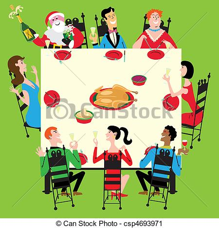 Vector Clip Art of Holiday dinner with Santa.
