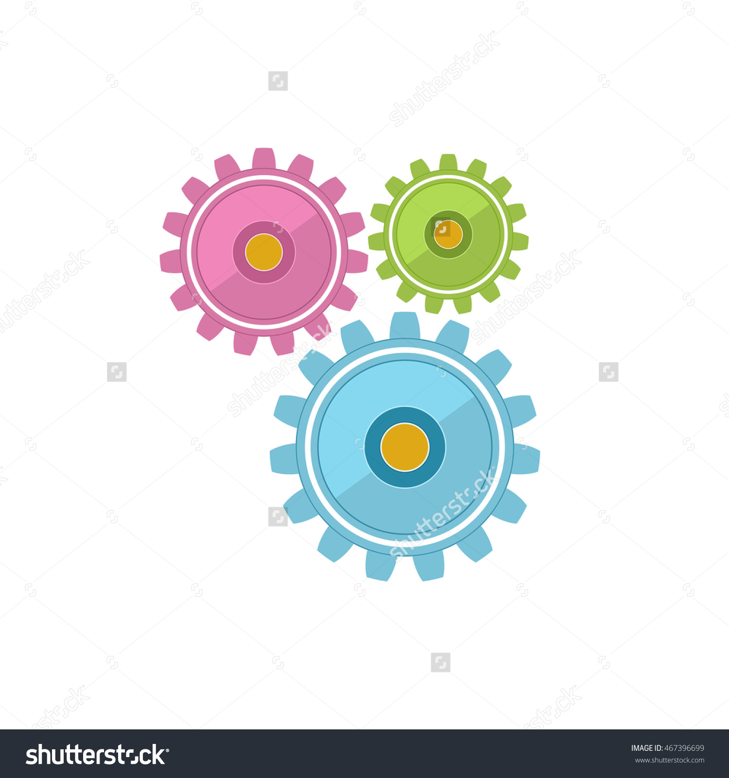 Gears Isolated On White Background, Teamwork, Joint Effort, Team.