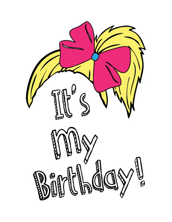 JoJo Siwa inspired birthday .svg, .png, and .dxf cut and/or clipart.
