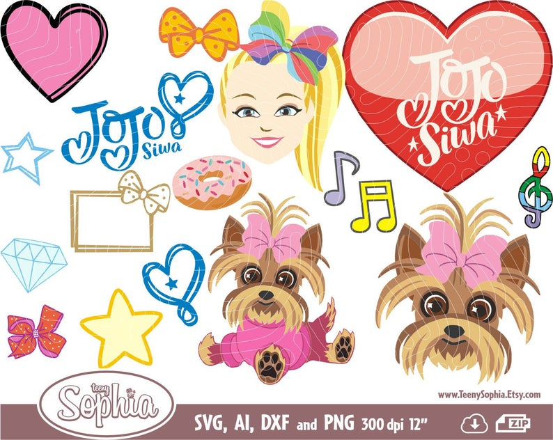 Jojo Siwa svg cliparts 37 images, format Svg, Dxf Files for cutting machine  plus Ai & Png files. Instant Download, JoJo Cutting file..