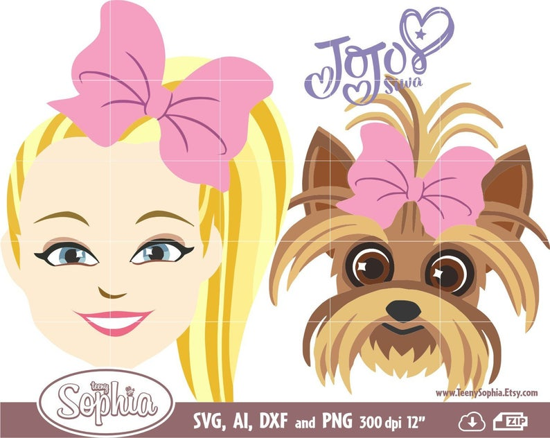 Jojo Siwa & Bow Bow show 8 cliparts, logos. Svg File for Cricut, Dxf File  for Silhouette machine plus Ai and Png for edit or direct print..