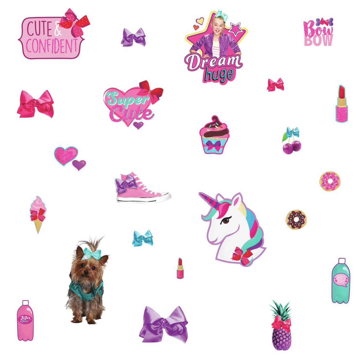 JoJo Siwa Cute and Confident Peel and Stick Wall Decals with Glitter.