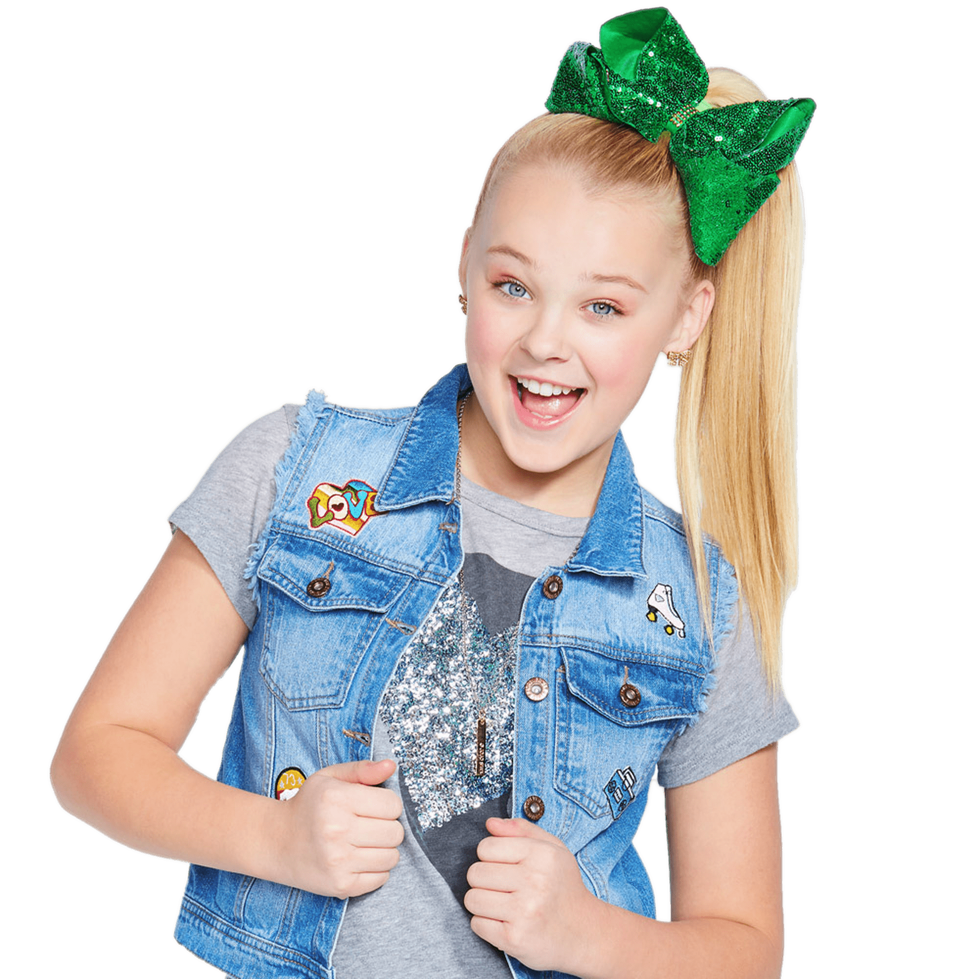 JoJo Siwa With Green Bow In Hair transparent PNG.