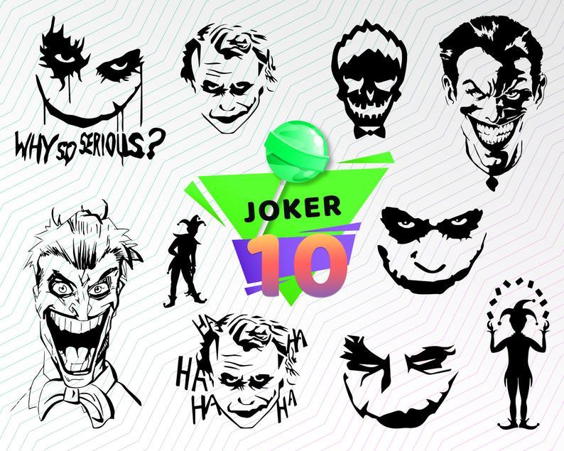 JOKER SVG, suicide squad svg, joker silhouette, joker clipart, joker  cricut, joker dxf, joker VECTOR, joker face svg, joker design, stencil.