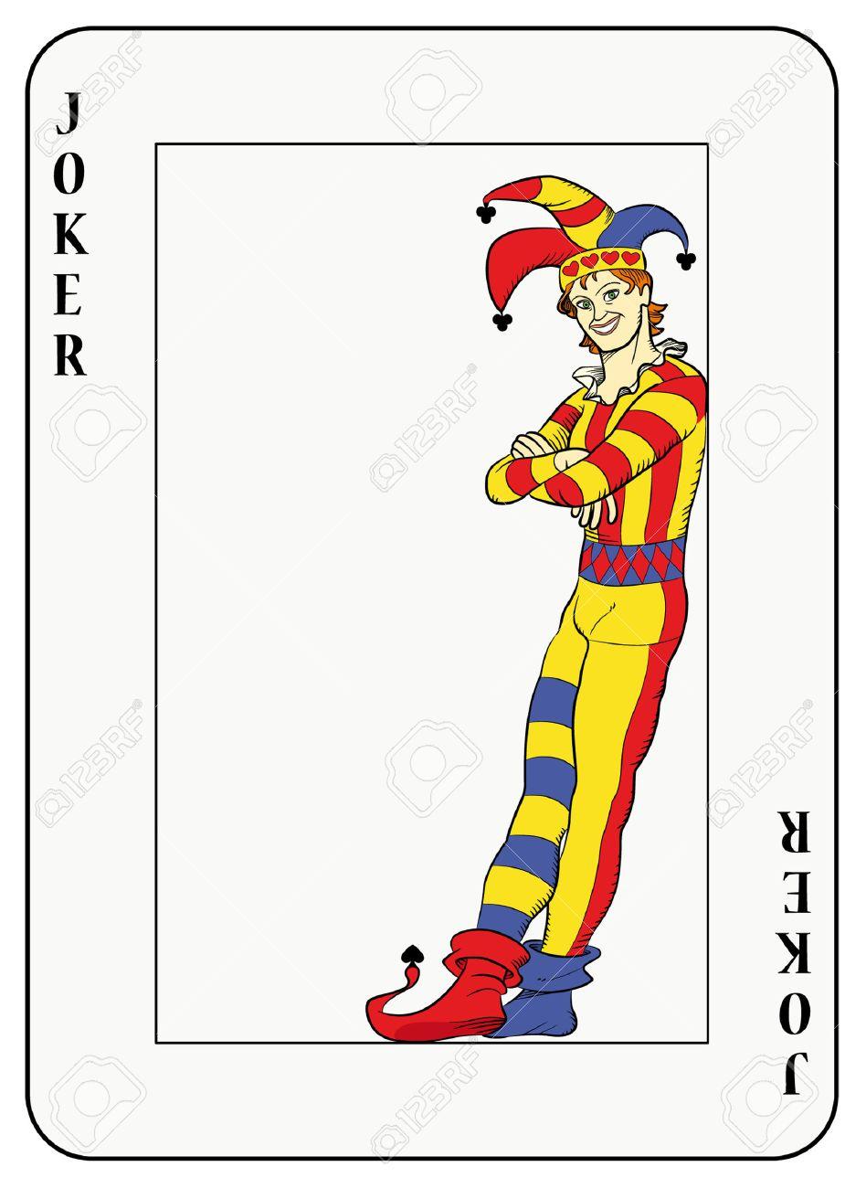 Joker leaning against playing card frame.