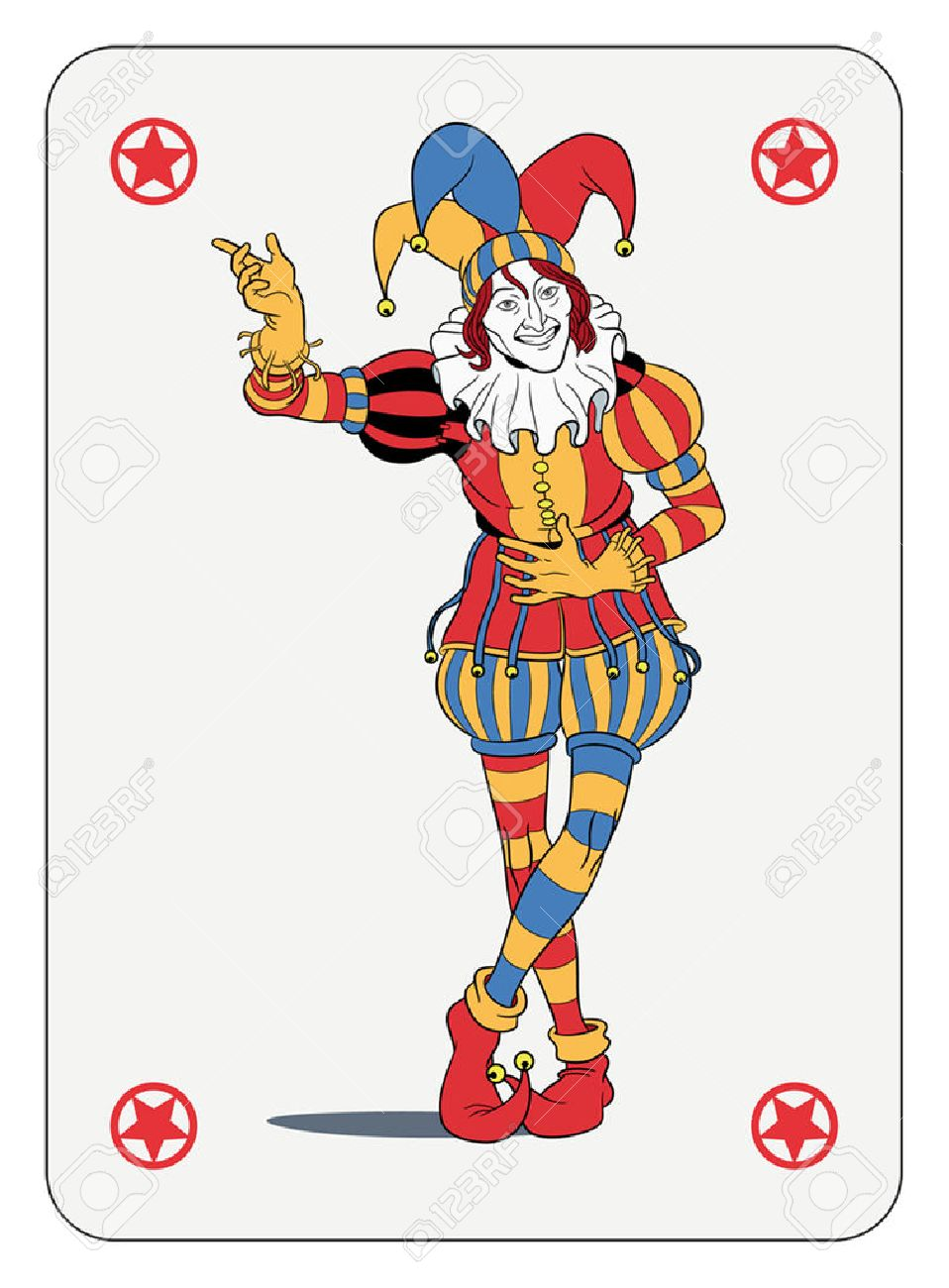 Joker in colorful costume playing card.