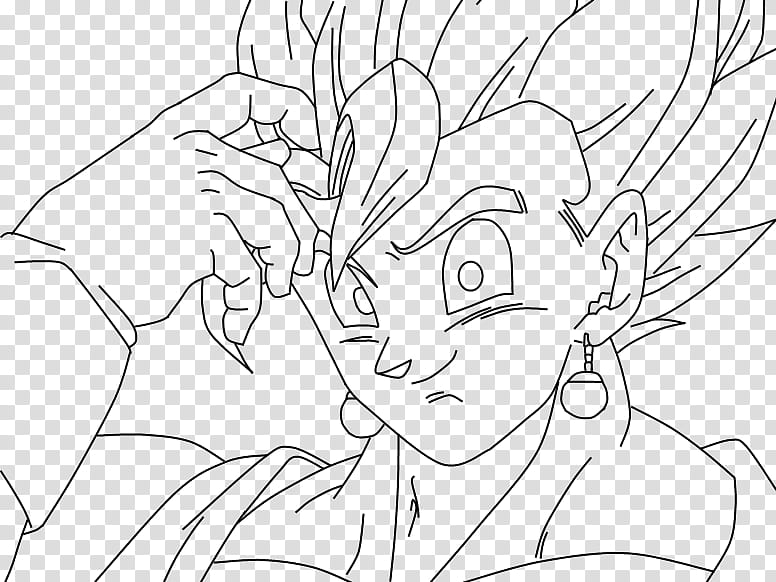 Joking Vegito, Lineart transparent background PNG clipart.