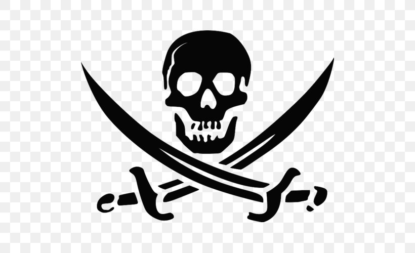 Skull And Crossbones Jolly Roger Piracy Image, PNG.