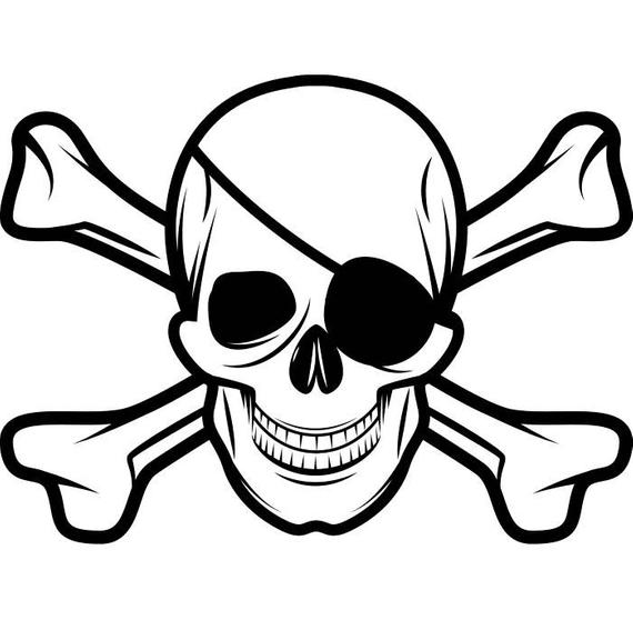 Pirate Skull #5 Crossbones Eye Patch Grin Jolly Roger Ship Boat Boating Sea  Ocean Nautical .SVG .EPS .PNG Clipart Vector Cricut Cut Cutting.