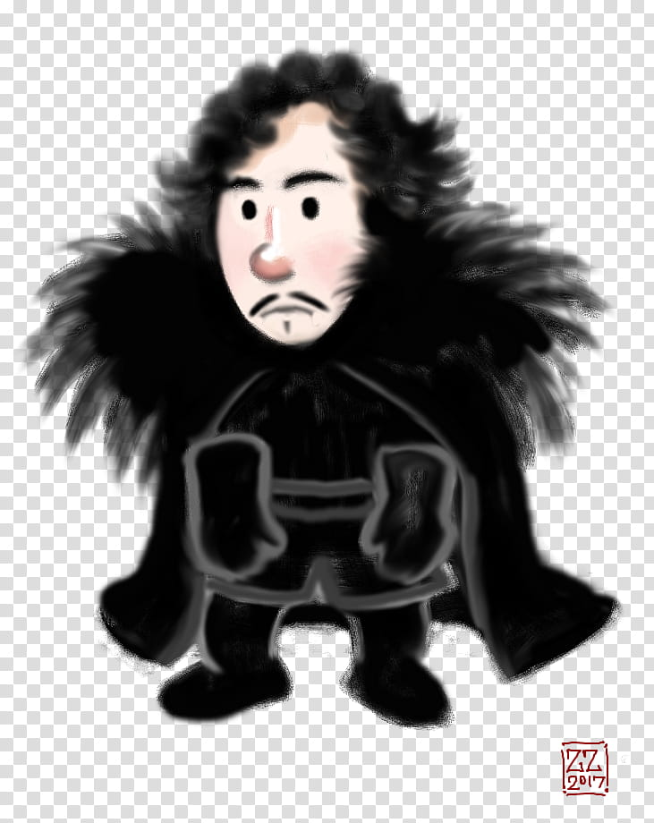Draw Chibi Jon Snow transparent background PNG clipart.