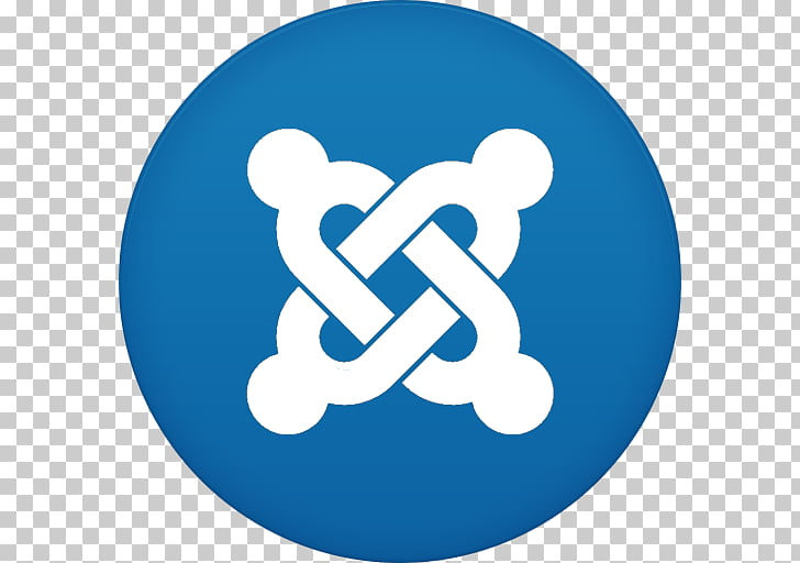 Blue text symbol logo, Joomla, round white and blue logo PNG.