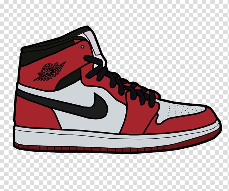 White and red Air Jordan 1 shoe illustration, Jumpman Air Jordan.