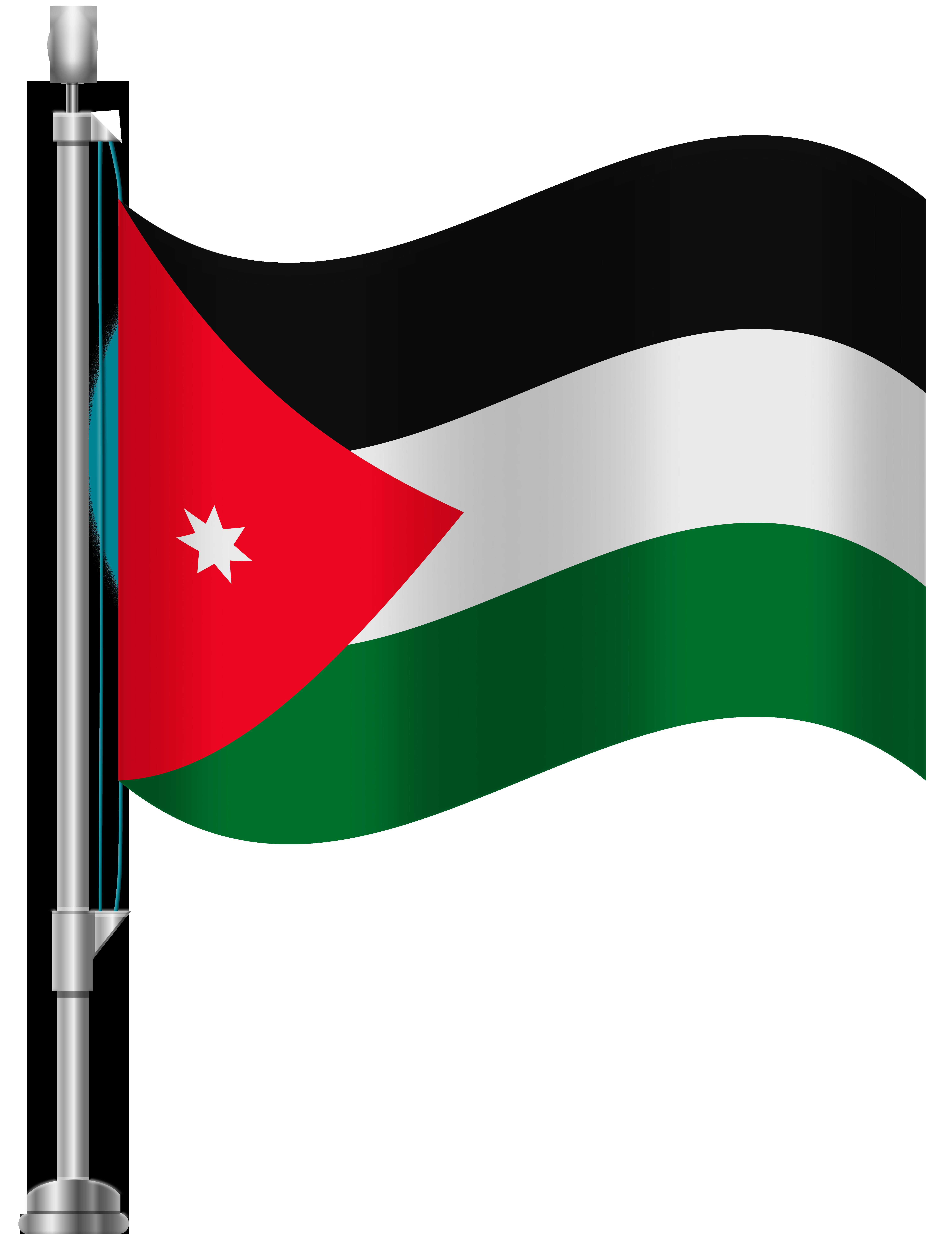 Jordan Flag PNG Clip Art.