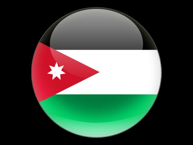 Round icon. Illustration of flag of Jordan.